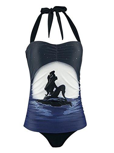 Arielle Disney kleine Meerjungfrau Moonshine Damen Badeanzug Schwarz Allover, Größe:XS
