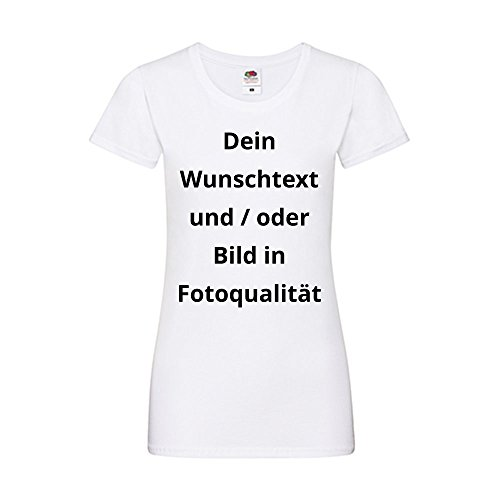 Damen T-Shirt Bedrucken - Text und Bild individuell auf Ihr T-Shirt Drucken Lassen | Personalisiert Farbe Weiss, Größe L