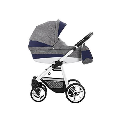 Bebetto Vulcano Modernes Travelsystem Kinderwagen Babywagen Buggy Kinderwagen System + Wickeltasche + Regenschutz + Insektenschutz (3in1 (inkl. Babyschale), V06 GREY-NAVY BLUE)