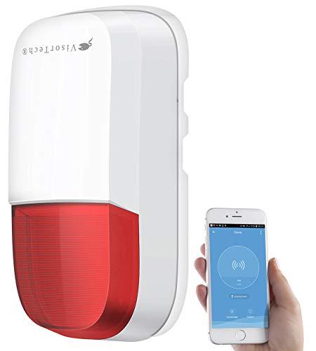 VisorTech Alexa Sirene: WLAN-Outdoor-Sirene mit Blinklicht und 95 dB, IP54, ELESION-kompatibel (WLAN-Alarm-Sirene)
