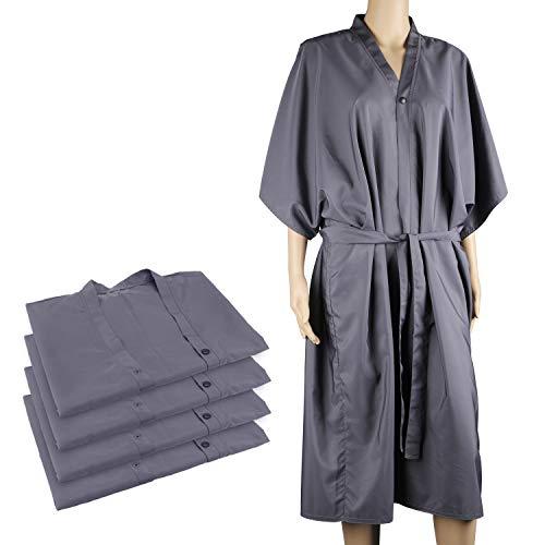 4pcs Bata de masaje para spa, Segbeauty Impermeable Kimono Media mangas Salon Client Cabo Peluquería Bata de maquillaje Champú Bata de laboratorio universal para clientes Ropa - Gris