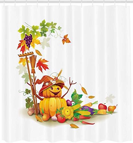 vrupi Thanksgiving Duschvorhang Herbstkollektion Thema Country Garden Agriculture bietet eine Vielzahl von Lebensmitteln 71x71inch Polyester wasserdichtes Gewebe, darunter zwölf Kunststoffhaken