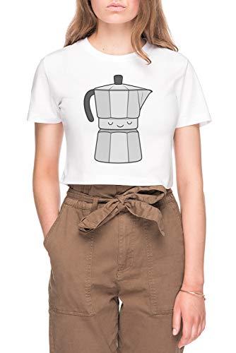 Koffie Dames Bijsnijden T-shirt Tee Wit Women's Crop T-shirt Tee White