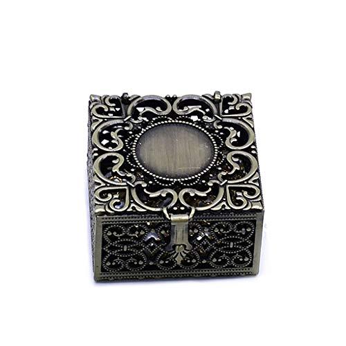 Bingxue - Scatola per rosario in metallo, per collana e collana cattolica cristiana, per gioielli religiosi, organizer per regali, collane, bronzo antico (4,8 x 4,5 x 2,8 cm)