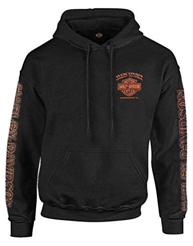 Harley-Davidson Men's Eagle Piston Long Sleeve Pullover Hoodie, Black (L)