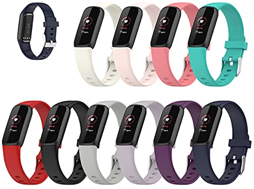 """Lemspum Compatible Silicone Bands Sports Wristbands Replacement for Fitbit Luxe, Luxe Special Edition Fitness Tracker Accessories Small/Large Watchbands (L (6.1""""-8.7""""), 10PCS)"""