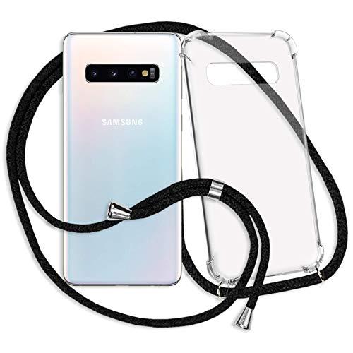 mtb more energy® Handykette kompatibel mit Samsung Galaxy S10 (SM-G973, 6.1'') - schwarz - Smartphone Hülle zum Umhängen - Anti Shock Strong TPU Case