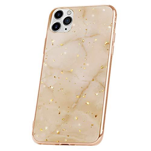 QULT Bumper Compatible pour Coque iPhone 11 Pro marbre Blanc Or Siliconee Etui Flexible Case Paillette Sparkle Brillant TPU Cover Marbre White Gold