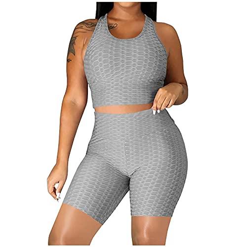 Einfarbig Jogginganzug Yoga Sets Damen Halter Ärmellos Sportoberteile Fitness Crop Top Sport Yoga Shirt Shorts Push up Kompression Sportswear Frauen Fits Activewear Mode Sport Sets für Gym Workout