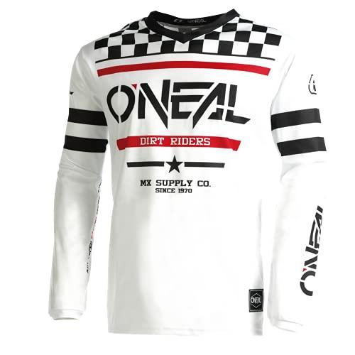 O'NEAL   Motocross-Shirt langarm   Kinder   MX MTB Mountainbike   Leichtes Material, ergonomischer Slim Fit Schnitt für perfekte Passform   Element Youth Jersey Squadron V.22   Weiß Schwarz   M