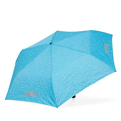 ergobag Regenschirm - Schultaschenschirm für Kinder, extra leicht mit Tasche, Ø90cm - Hula HoopBär - Blau