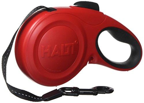 Halti Retractable Tape Lead Laisse à Enrouleur avec Bande Réfléchissante/Poignée Gel Ergonomique pour Chien Rouge Taille L