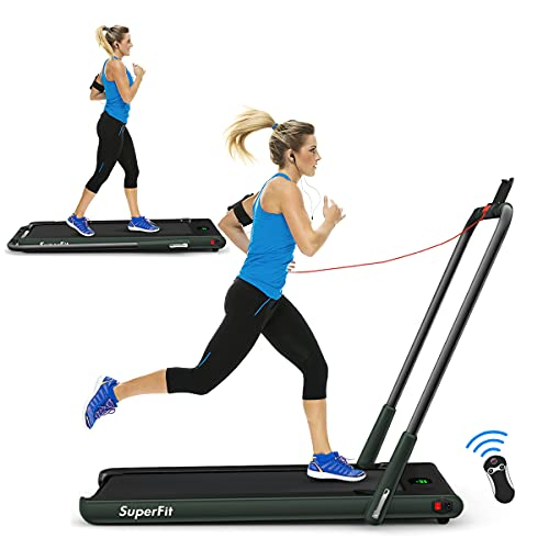 Goplus 2 in 1 Folding Treadmill, 2.25HP Under Desk Electric Superfit Treadmill, Installation-Free with APP Control, Remote Control, Bluetooth Speaker and LED Display, Jogging Walking for Home/Office