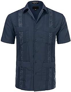 JD Apparel Men's Short Sleeve Cuban Guayabera Shirts