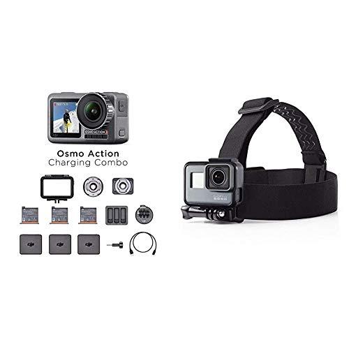 DJI Osmo Action Charging Combo - Digitalkamera mit Zubehör-Kit enthalten, 2 Bildschirmen, wasserdicht bis zu 11 m, integrierte Stabilisierung - Schwarz & AmazonBasics Kopfgurt für GoPro Actionkamera