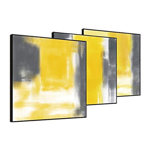 ZSLMX Lona Pintura Abstracta Amarilla Mostaza Y Gris En Lienzo, Decor De La Pared Moderna Pintura Al óLeo Textura ImpresióN Ilustraciones para Sala De Estar O Oficina - Listo para Colgar,3Pcs,70x70cm