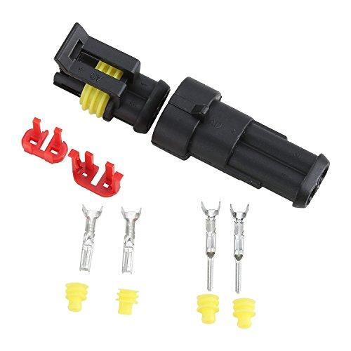 Fafada 10 Kit 2 Pin Connettore Elettrico Plug impermeabile per Auto e Camion,Connettore Stagno Maschio Femmina 2 vie Set Connettori Elettrici per Auto Camper Moto
