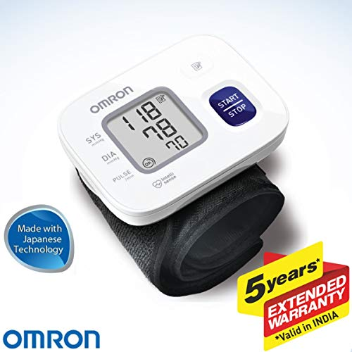 Omron HEM 6161 Fully Automatic Wrist Blood Pressure Monitor with Intellisense Technology, Cuff Wrapping Guide and Irregular Heartbeat Detection for Most Accurate Measurement (White)
