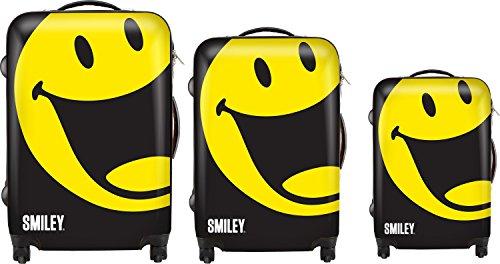 Smiley World Happy 3-Piece Luggage Set by ATM Luggage (One Size, Black)