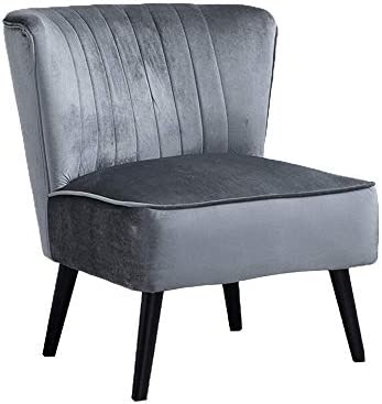 Best HomeSailing Single Living Room Grey Velvet Chairs Wing Back Accent Chairs Bedroom with Comfy Fabric