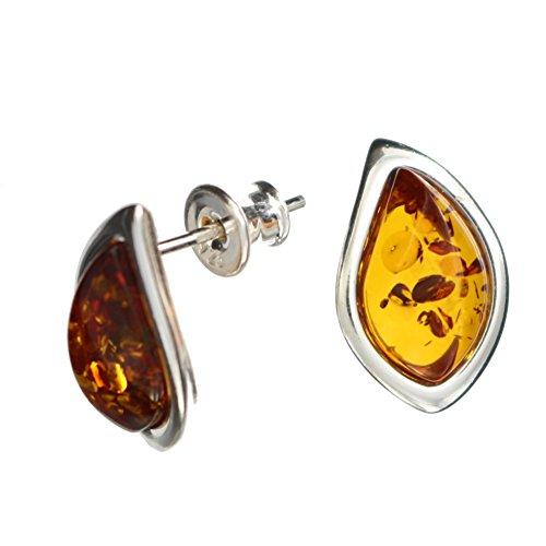 Ohrringe Natur Bernstein von Artisana-Schmuck, kleine längliche Ohrstecker Fassung 925/000 Sterling Silber rhodiniert