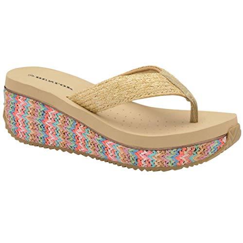 Dunlop Sandalias bajas con cuña para mujer, rafia, playa, verano, zapatos de verano, tallas 3-8, color, talla 41 EU