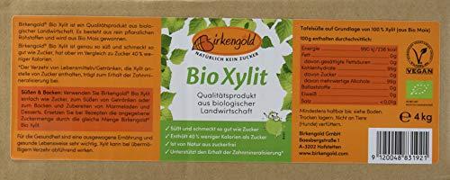 Birkengold Bio Xylit, 4 kg Beutel | aus biologischer Landwirtschaft | 40 % weniger Kalorien | zahnfreundlich | ideal zum Kochen und Backen | glykämischer Index von 11