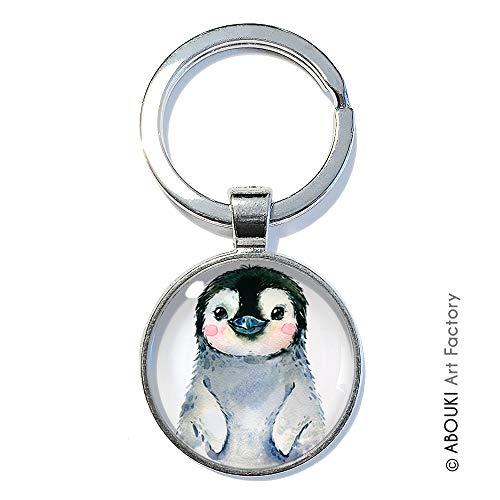 Pinguin - ABOUKI   handgefertigter Glücksbringer Taschenanhänger Schlüsselanhänger mit Illustration