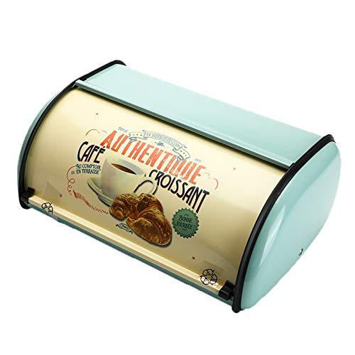Senmubery Boîte à pain vintage avec couvercle enroulable Bleu clair Petite boîte à pain en fer à collation Boîtes...