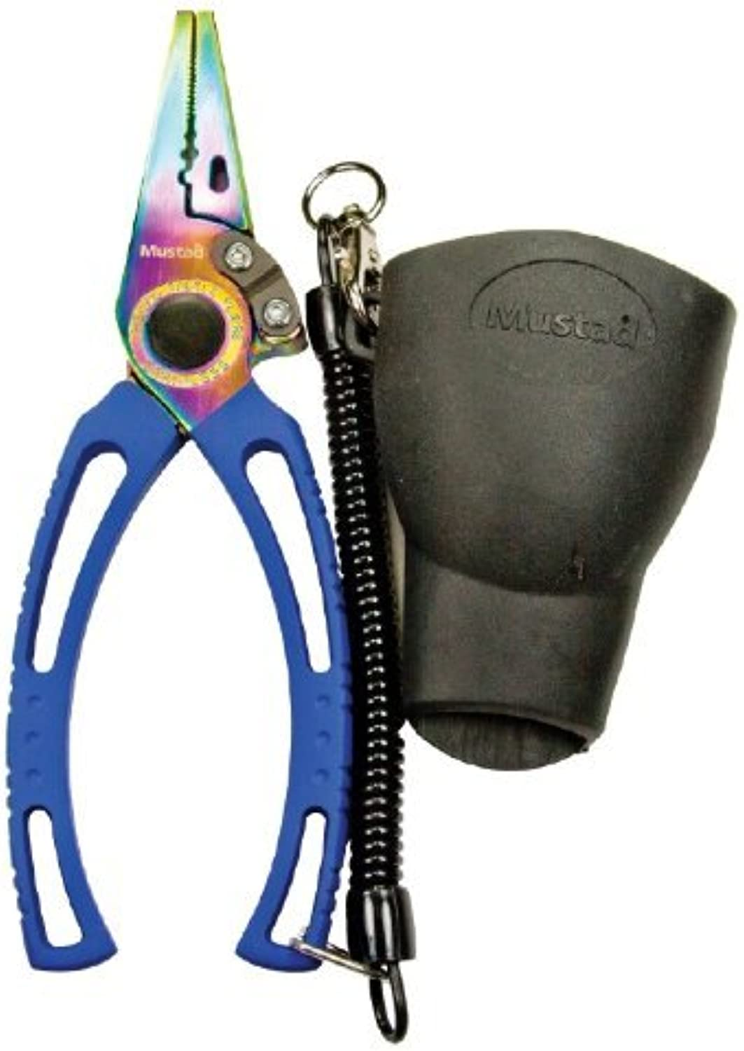 Mustad 7.5Inch SS Pliers with Rainbow Titanium Coating with Sheath, Silver by Mustad