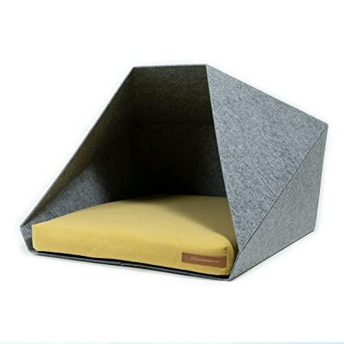 R Exproduct Pocket - Caseta para Perros de Tela ecológica de Pet, Resistente a los arañazos, Gris Claro y Amarillo (60 x 45 x 63 cm)