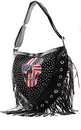 Damen Handtasche Totenkopf Skull Bone Trapez Gothic Punk Damentasche Schultertasche Glitzer groß Strass Optik