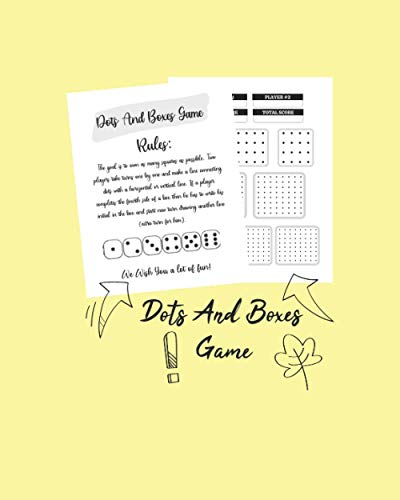 Dots And Boxes Game: A Classic Strategy Game, Large and Small Playing Squares, Dot to Dot Grid, Game of Dots, Boxes, Dot and Line, dots and boxes game board