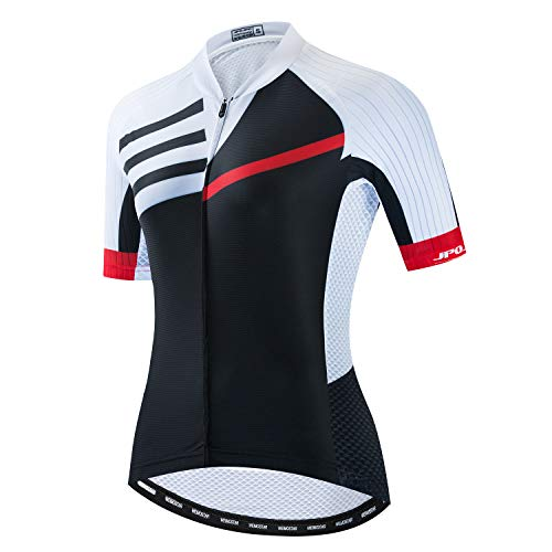 JPOJPO Fahrradtrikot für Damen, kurzärmelig, für den Sommer, Mädchen, Schwarz , XXL=Chest43.3