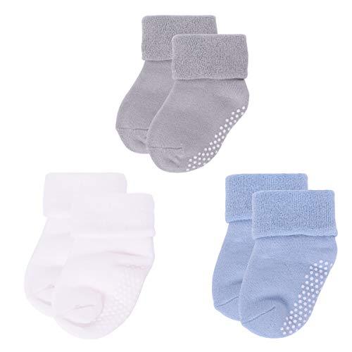 ANIMQUE 3er Pack Babysocken Winter Antirutsch 0-12 Monate Neugeborene Kleinkind Jungen Mädchen Dicke Warm Baumwolle Socken Zuhause Atmungsaktiv Bequem (B-S)