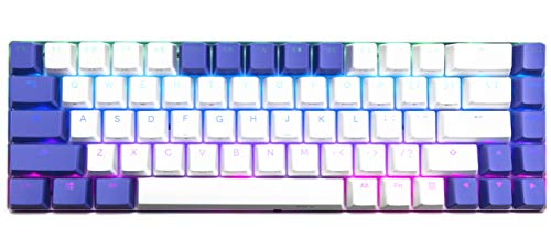 KKV 65% Mechanical Keyboard with RGB LED Backlit & PBT Keycaps - Clicky Optical Switch - Mini Wired Type-C Cable 68 Keys Gaming Keyboard for PC/Mac Gamer, Typist (Kailh Box Blue Switch, White&Purple)
