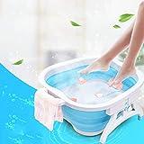 Sinbide Platzspar-Fußbad faltbar Spülwanne Schüssel Waschen Reinigen Pflege Pedikür gepflegte Füße Kunststoff Fuß-Pflege-Wanne (Blau)