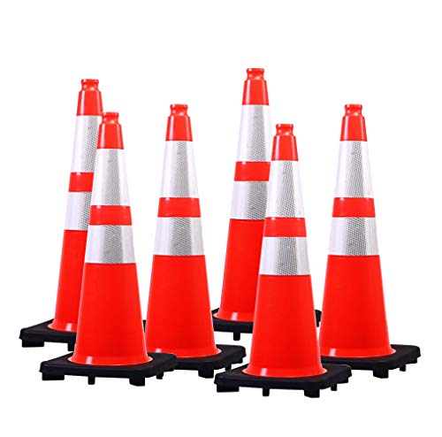 "(6 Pack) BESEA 28"" Orange Safety Traffic Cone,Black Base Construction Road Parking Cone Structurally Stable,Crowd Control at Public Places (28' Height)."