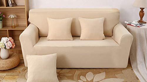 Allenger Funda Elástica de Sofá,Funda de sofá Gruesa de Color sólido de Punto elástico, Funda a Prueba de Polvo de sofá, cojín de sofá Completo-Beige_90-140cm