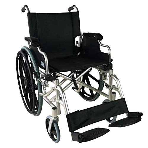 Mobiclinic, Faltrollstuhl, Ópera, Europäische Marke, Rollstuhl für Ältere und Behinderte, Klapparmlehnen und abnehmbare Fußstützen, selbstfahrend, Leichtgewicht, Schwarz, Sitzbreite 46 cm