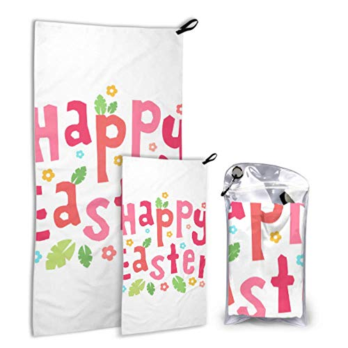 XINLU Colorful Happy Easter Calligraphy Paint 2 Pack Microfiber Kid Pool Towel Towel Dry Quick Set Fast Drying Best for Gym Travel Backpacking Yoga Fitnes
