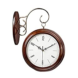 Wall Clock, Solid Wood Clock, Double-Sided Wall Clock, Two-Sided Side Wall Watch, Retro Antique Exterior Wall-Mounted, Hanging Decoration for Indoors and Gardens (Color : Brown)