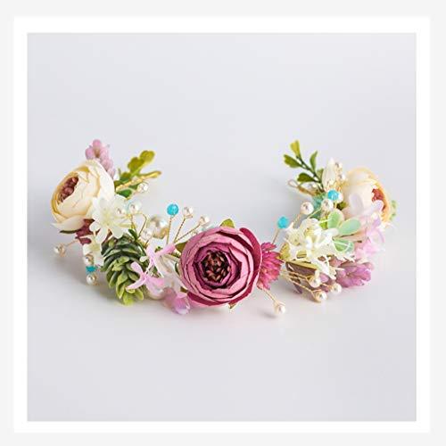 LYM Couronne de Fleurs Accessoires pour Cheveux Robe de mariée Robe Fille Marry Accessoires Accessoires Bandeau (Couleur : A)