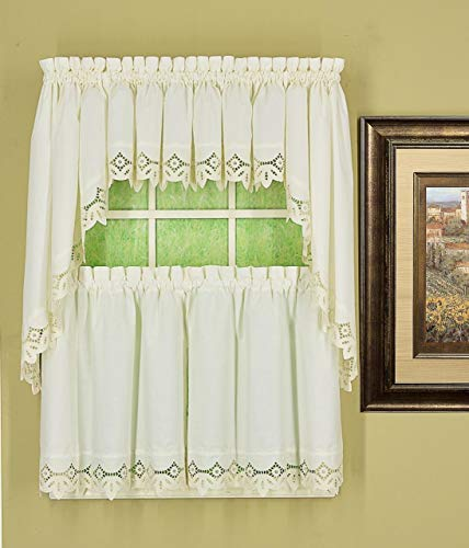 Today's Curtain Heirloom Eyelet Embroidered Cutwork Battenberg Style Window Collection (White, 58W x 24L Tier Pair)