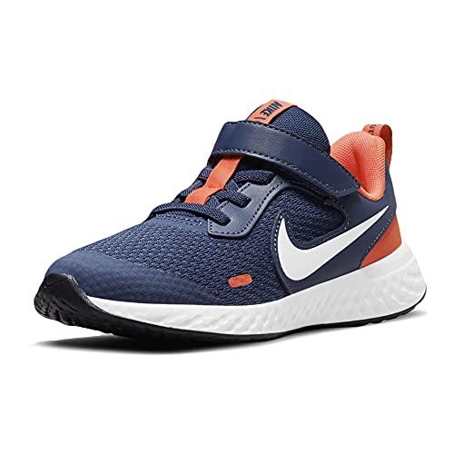 Nike Revolution 5, Scarpe da Tennis Unisex-Bambini, Midnight Navy/White-Orange, 31.5 EU