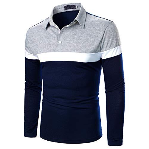 Camiseta de manga larga para hombre, estilo casual, para hombre, estilo informal, para Navidad, color azul marino