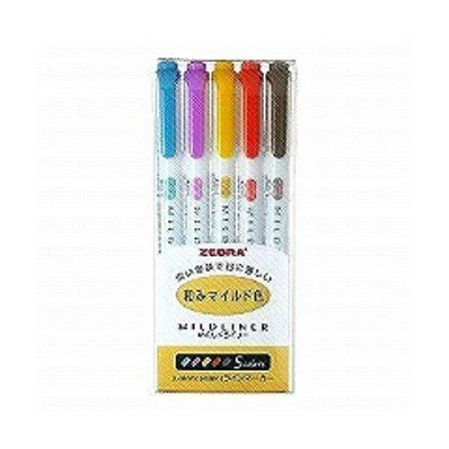 ゼブラ 蛍光ペン マイルドライナー 和みマイルド色 RC5色セット WKT7-5C-RC 『 2 PACK 』