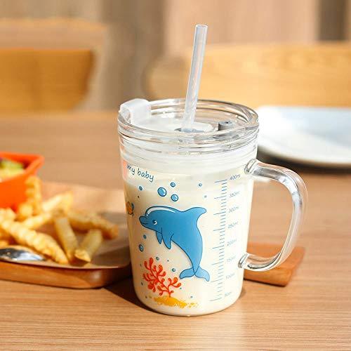 Cute Cartoon Children s Milk Glass Cups Hogar Beber Jugo Cup Transparent Water Bottle Breakfast Cup Straw Cup Kids Gifts-5_Russian Federation