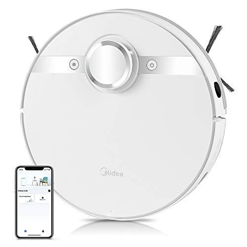 Midea M7 Robot Aspirador 3 en 1, 4000 PA 180 min de Tiempo de Ejecución con App Alexa Google Navegación Láser LDS Conexión Wi-Fi Bluetooth Suelos Duros Autocarga Silenciosa para Pelo de Mascotas
