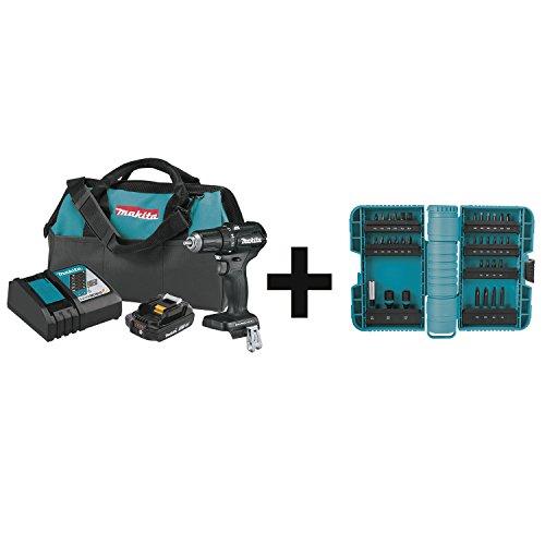 "Makita XFD11R1B 18V LXT Lithium-Ion Sub-Compact Brushless Cordless 1/2"" Driver-Drill Kit (2.0Ah) with 35 Pc ImpactX Driver Bit Set"